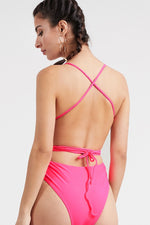 Hot Pink Braided Versatile Strap One Piece Swimsuit Swimwear