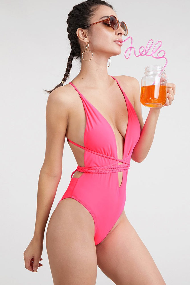 Hot Pink Braided Versatile Strap One Piece Swimsuit