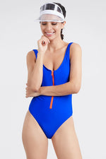 Classic Blue Front Zip One Piece Swimsuit Swimwear