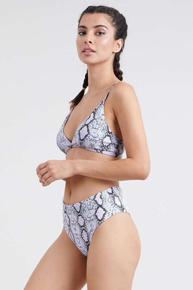 Black White Snake Print Two Piece Bikini set