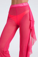New Stretch Solid Color Ruffle Leg Swimsuit Cover Ups Wholesale