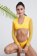 Quality Long-Sleeves Solid Color Sexy Padded Swimwear Wholesale