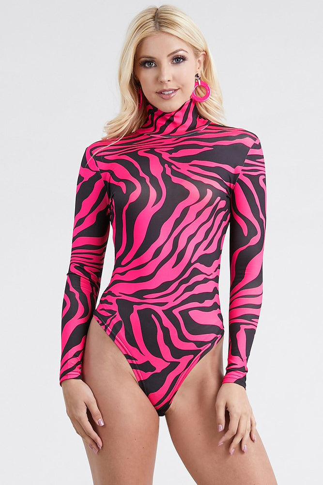Color zebra print Bodysuit long Sleeve