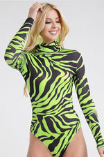 Zebra print Bodysuit long sleeve Green