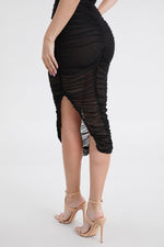 Rushed Spaghetti Strap Dress Black Clothing