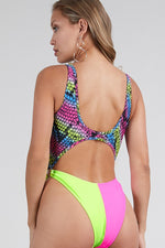 Multicolor Snake Print Front Cut out monokini