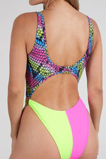 Multicolor Snake Print Front Cut Out Monokini Swimsuit