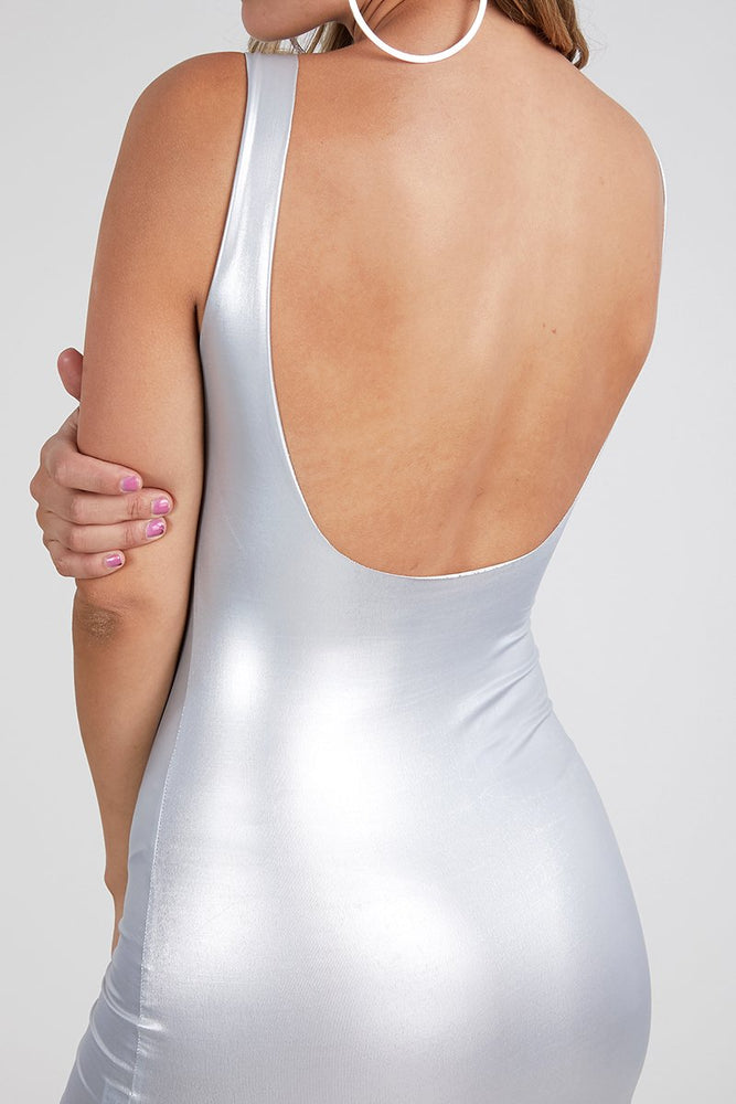 Metallic Faux leather dress