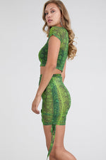 Green Animal print Sheer Two piece Cover up