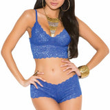 Blue Long Line Bralette Set