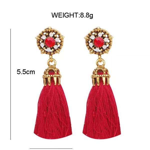 Red Long Dangle Tassel Ear Drop