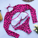 Two Piece Long Sleeve Pink Swimsuit