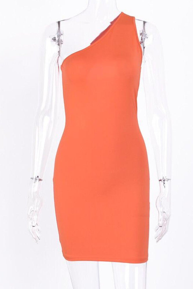 One Shoulder Back Cut Out Dress Orange Clothing