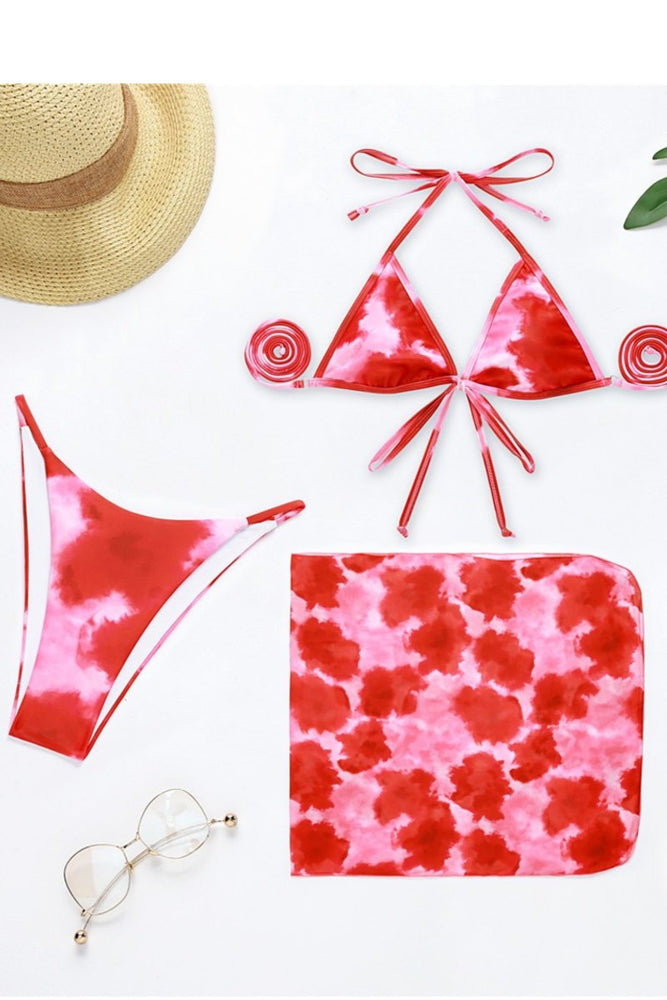 Pink Tie Dye Two Piece Bikini Set with Cover up