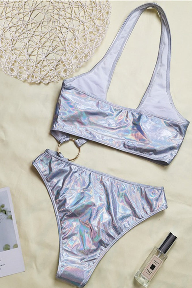 Load image into Gallery viewer, Silver Metallic Swimsuit