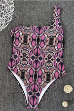 Pink Brown Python Print One Piece