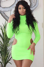 Side Cut-out Long Sleeve Mini Dress Neon Green