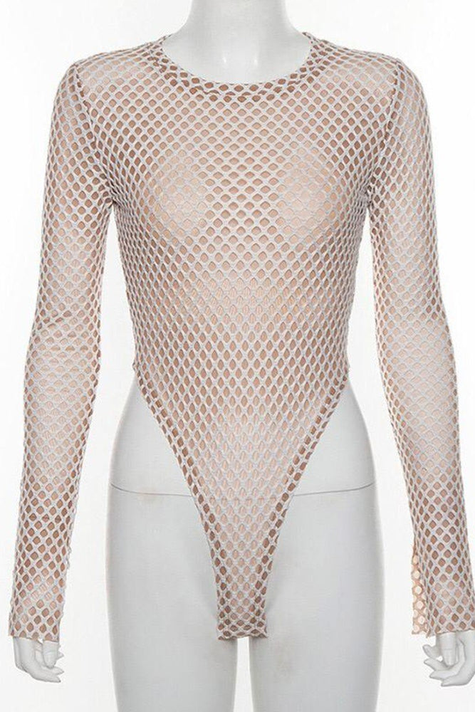 Fishnet long sleeve bodysuit