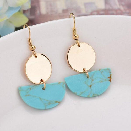 Gold Slab Earrings Turquoise