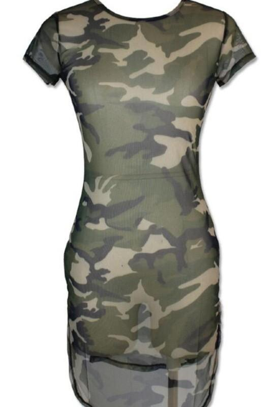 Camo Sheer Dress Clothing