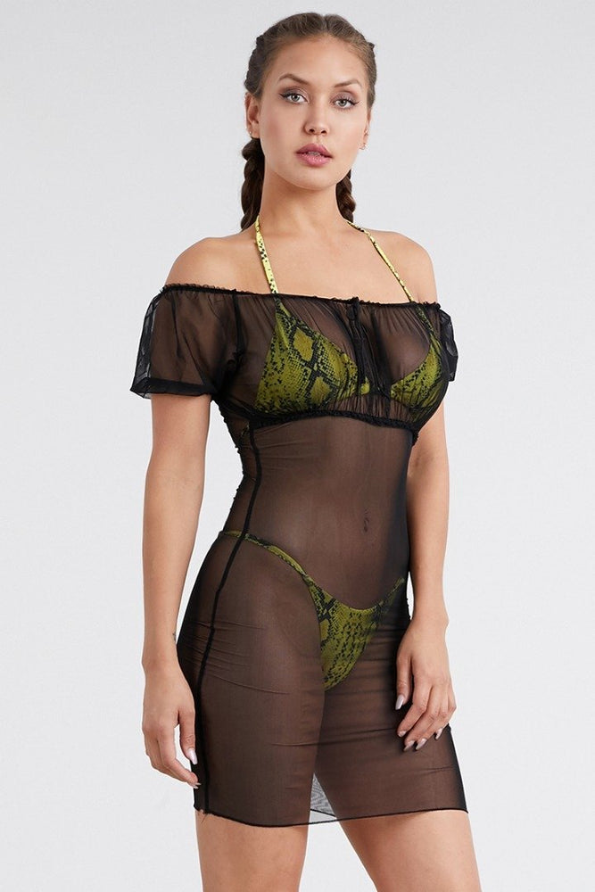 Off Shoulder Short Sleeve Sexy See Through Mesh Swimsuit Cover Ups Wholesale Swimwear