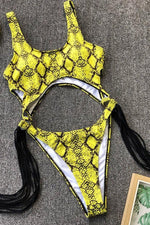 Summer Sexy Hot Fashion Style Yellow Snake Pattern Hollow Steel Tassel One Set Bikini Wholesale