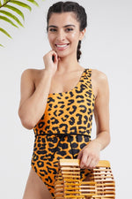 Summer sexy hot fashion style padded one-shoulder yellow leopard print belt swimsuit