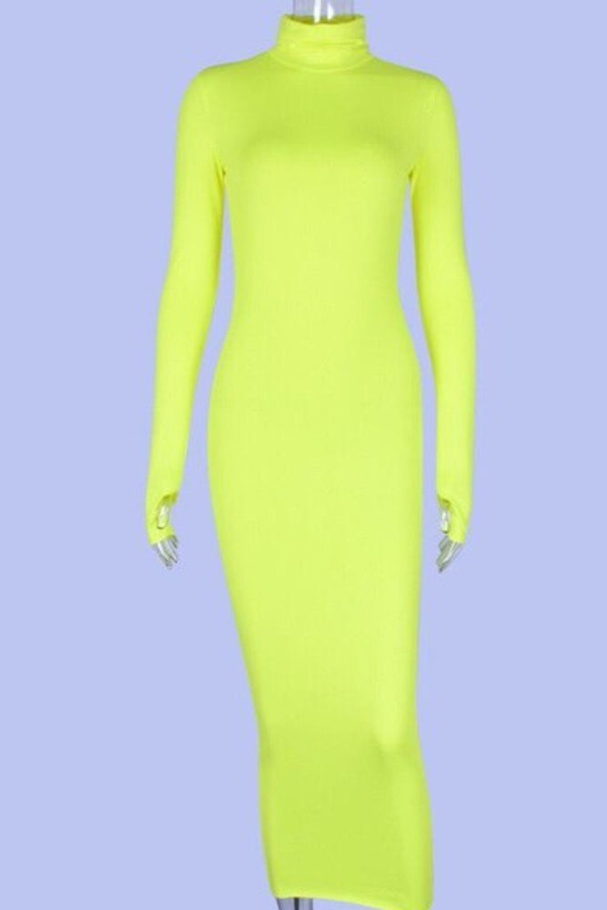 Long Sleeve Open Thump Neon Dress Green