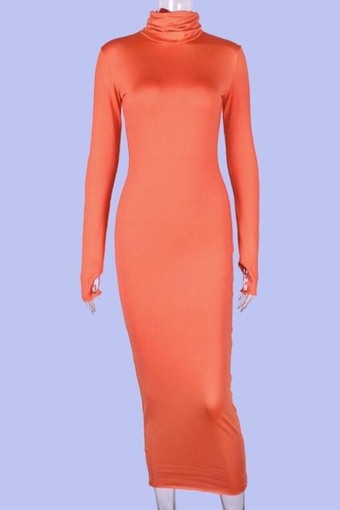 Long Sleeve Open Thump Dress Orange