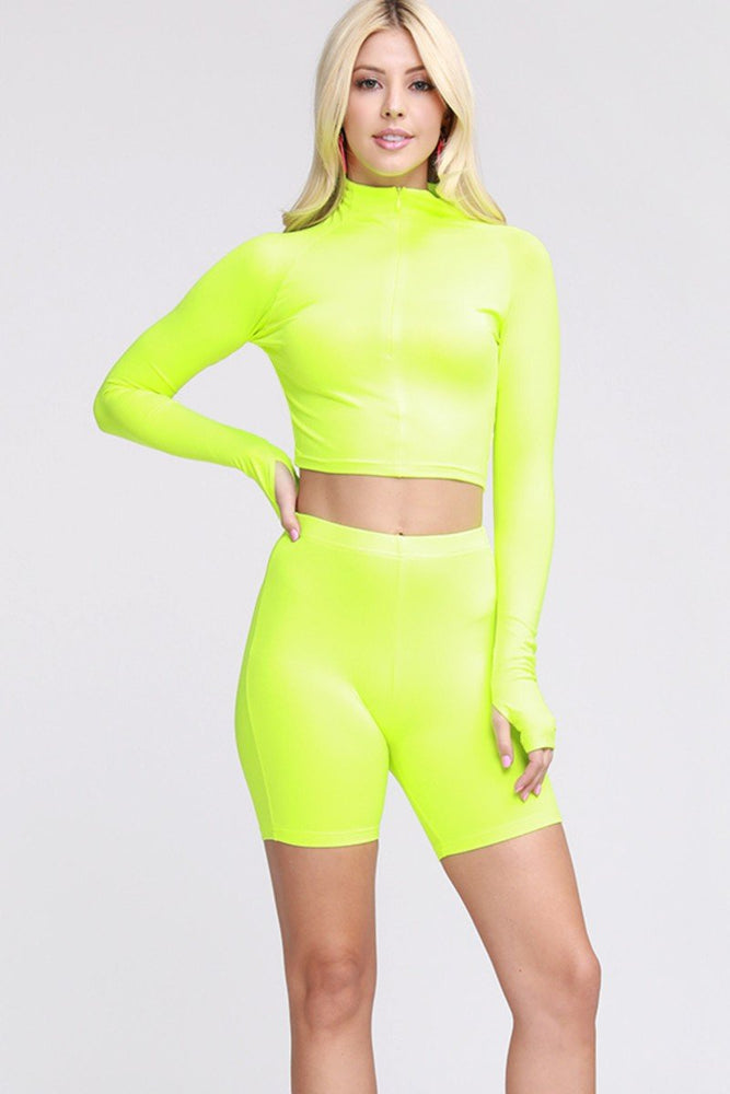 Two Piece Biker Shorts Set Neon Green