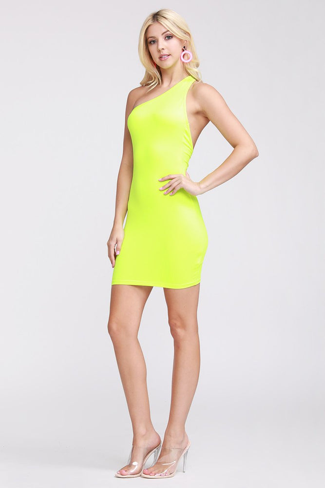 One Shoulder Back Cut Out Dress Neon Green Clothing