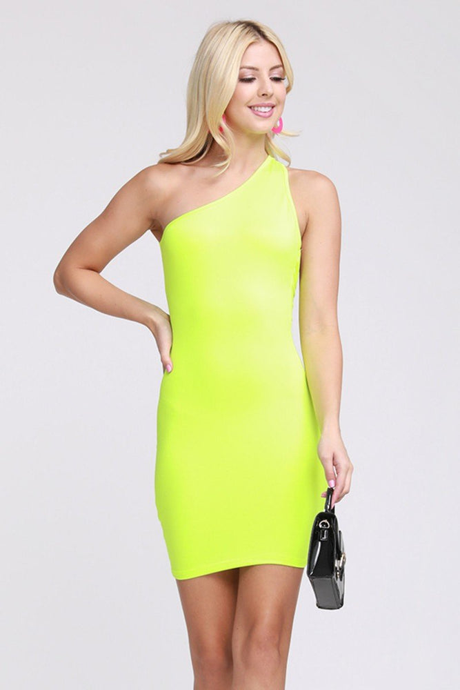 One Shoulder Back Cut Out Dress Neon Green