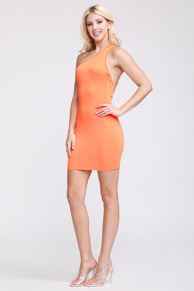 One Shoulder Back Cut Out Dress Orange
