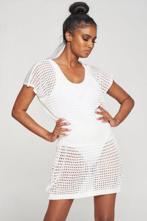 Load image into Gallery viewer, White Crochet Dress Top Cover up