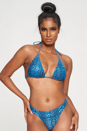 Blue Cheetah Print Bikini Cover Top