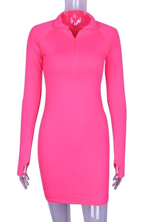 Long sleeve zip up dress Pink
