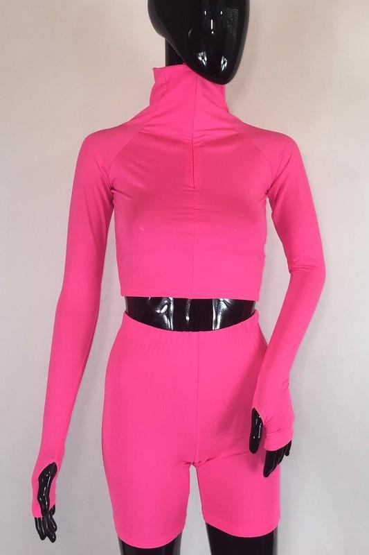 Two Piece Biker Shorts Set Pink S Clothing