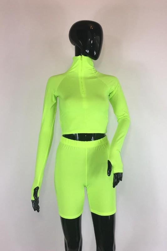 Two Piece Biker Shorts Set Neon Green S Clothing