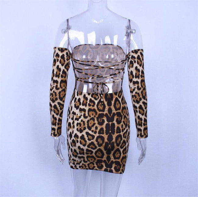 Leopard Print Criss cross Back Dress