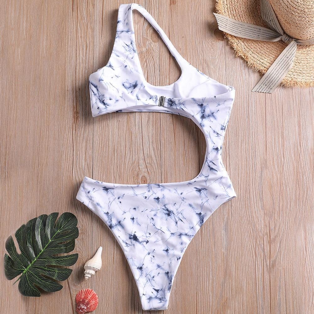 Load image into Gallery viewer, Marble Print One Shoulder Piece Swimsuit Swimwear