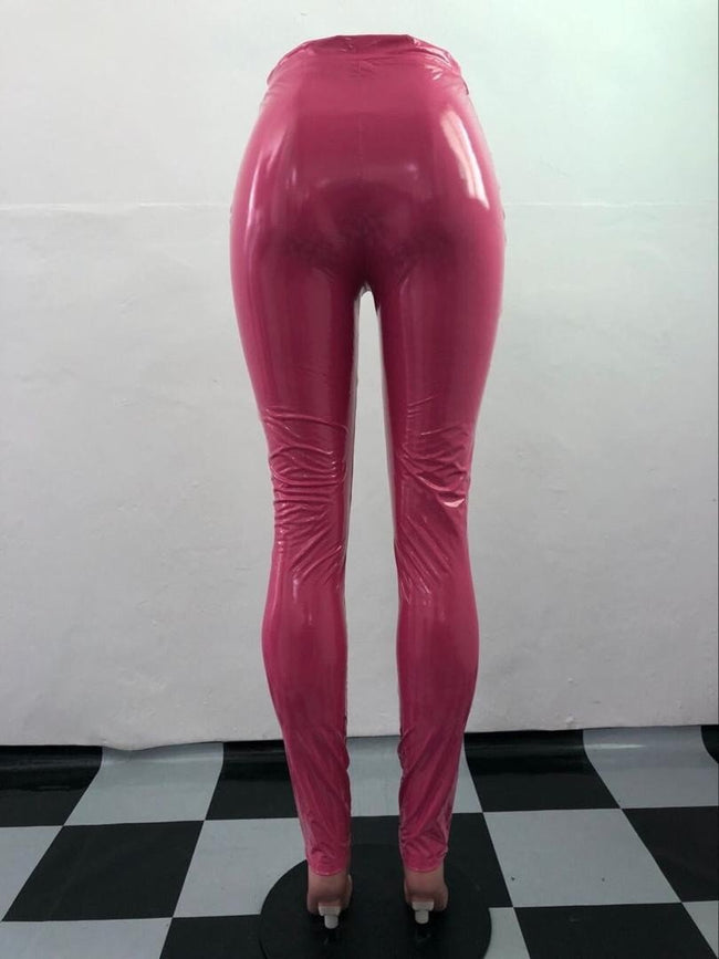 Latex Faux leather high waist pants Pink