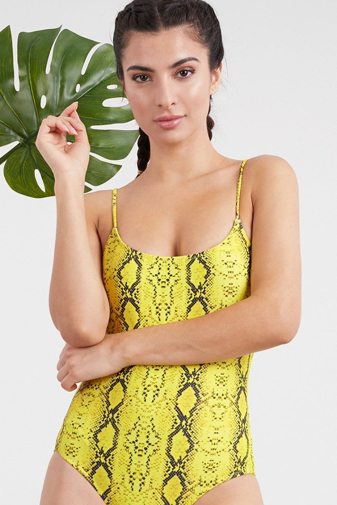 Yellow Python Print Spaghetti Strap One Piece Swimsuit Swimwear
