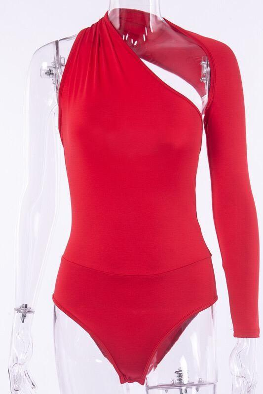 One Shoulder Long Sleeve Bodysuit Red Clothing