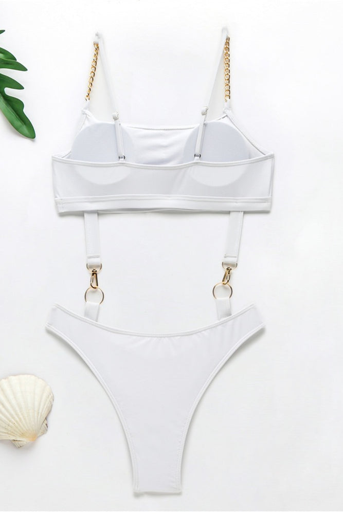 White Metallic Swimsuit with Chain Straps