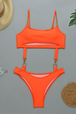 Orange Metallic Swimsuit with Chain Straps