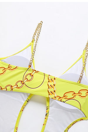 Load image into Gallery viewer, Yellow Regal Print One Piece Swimsuit Chain Belt