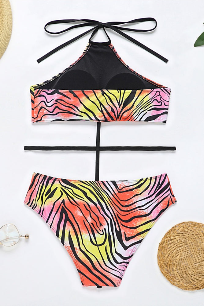 Load image into Gallery viewer, Multi Colored Zebra Print One Piece Swimsuit