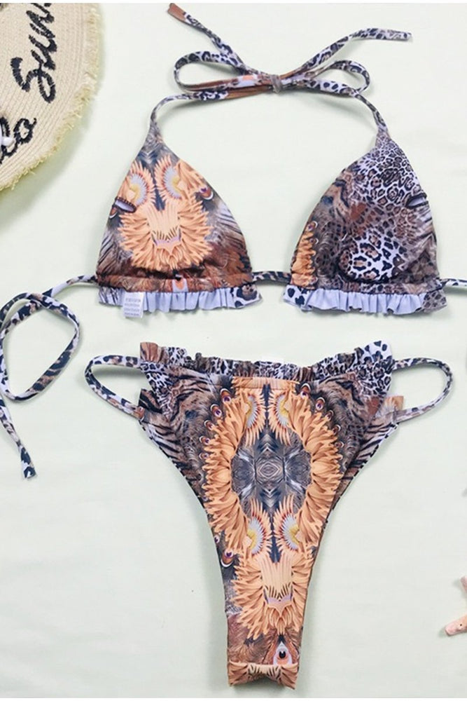 Animal Print Two Piece Bikini Set With Coverup Swimwear