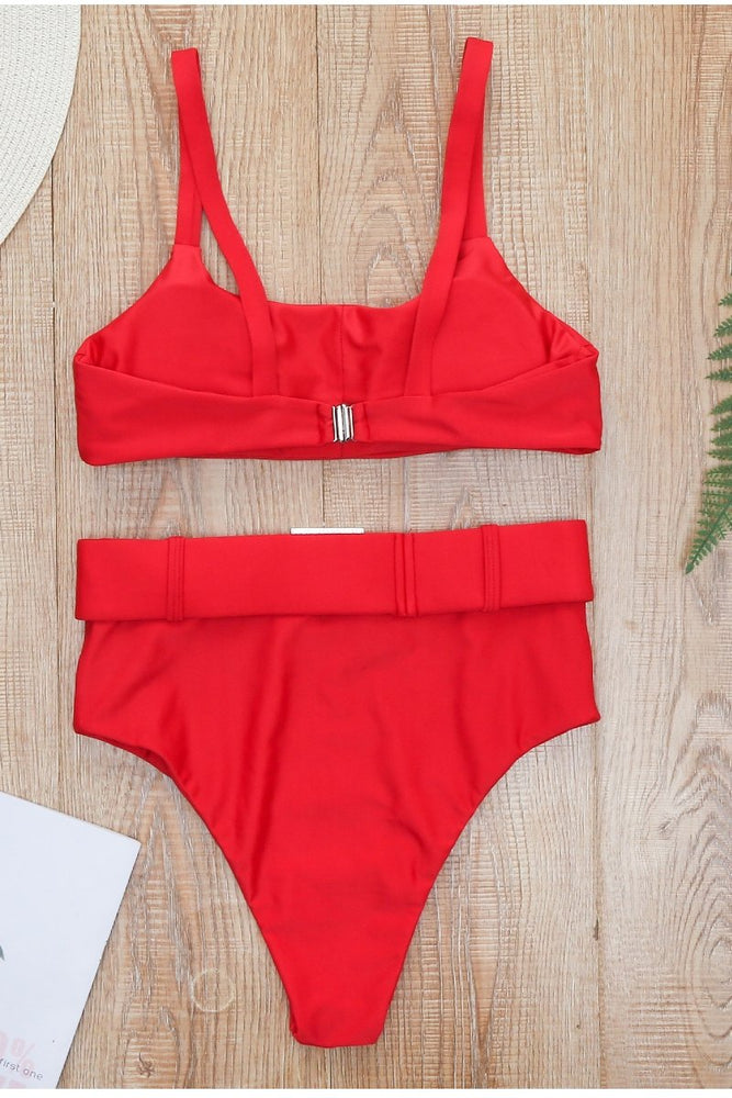Load image into Gallery viewer, Red High Waisted Two Piece Bikini Set