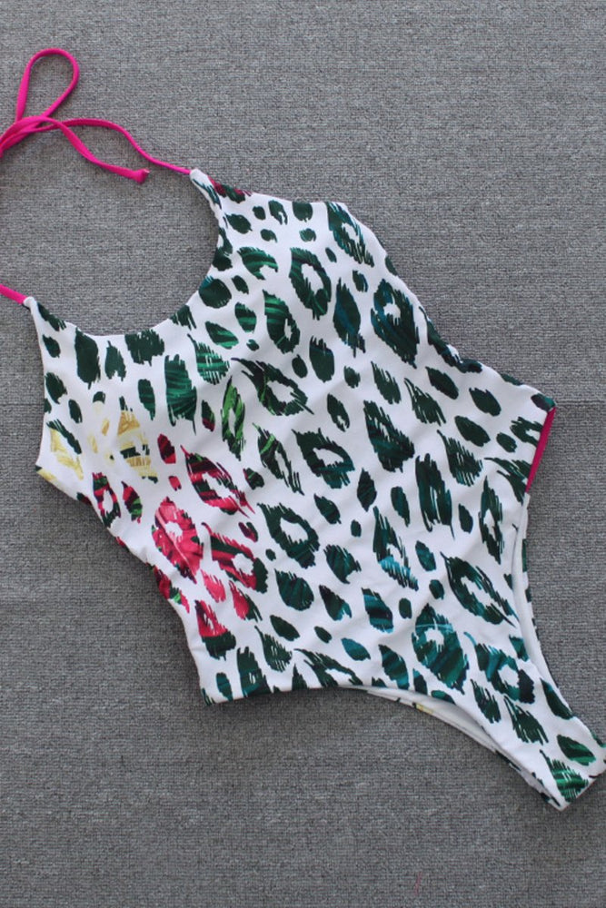 Load image into Gallery viewer, Cheetah Print One Piece Swimsuit